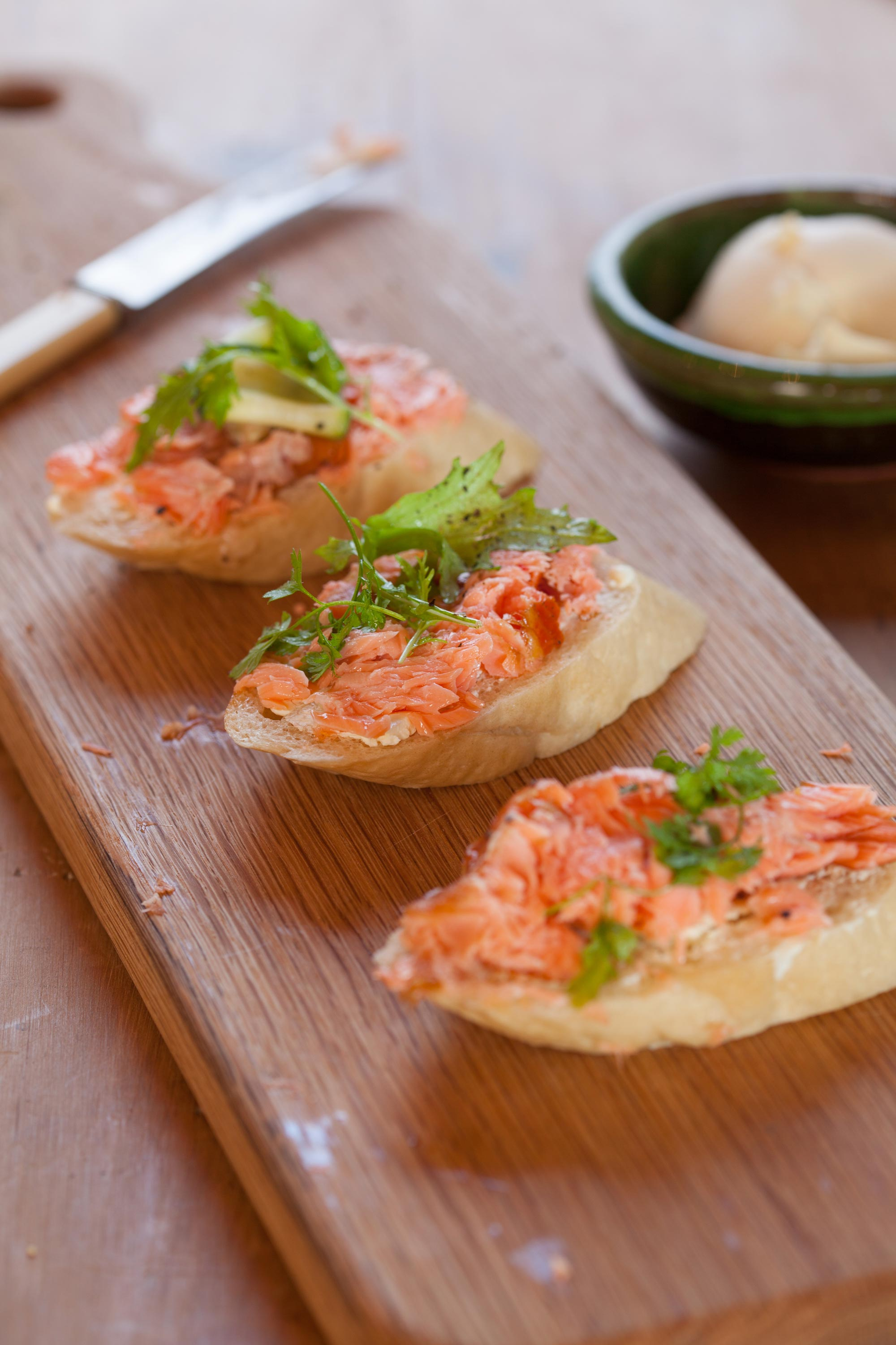 Hot Smoked Salmon French Stick Appetizer